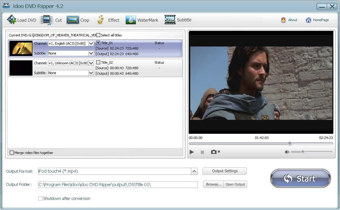 The Screenshot of Free DVD to iPod Converter.