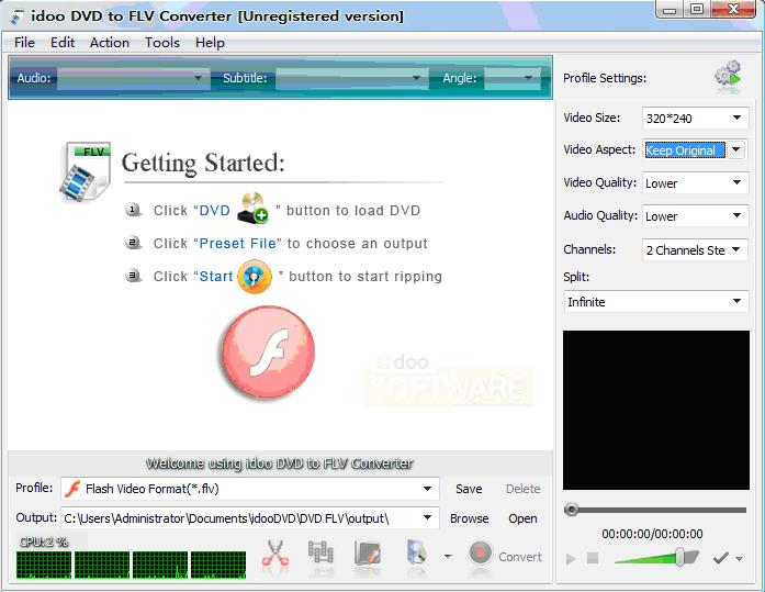 convert DVD to FLV, F4V, SWF,mp3 and aac.